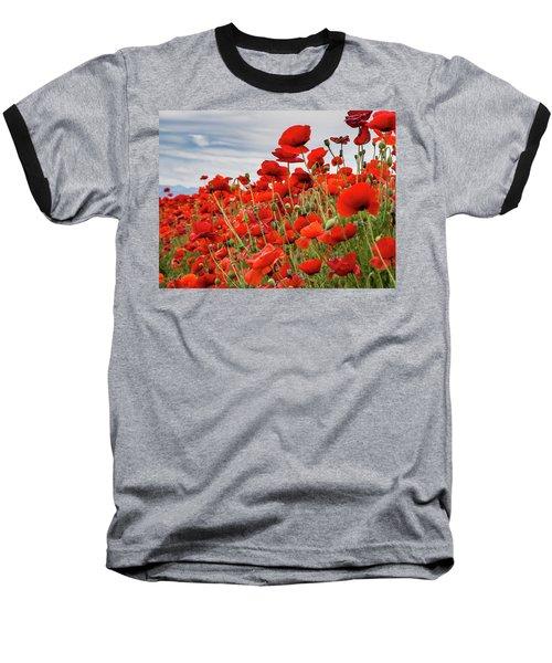 Waving Red Poppies Baseball T-Shirt