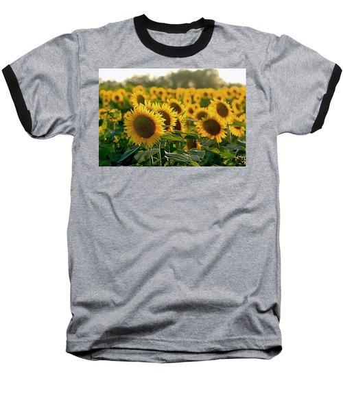Waving Sunflowers In A Field Baseball T-Shirt by Karen McKenzie McAdoo