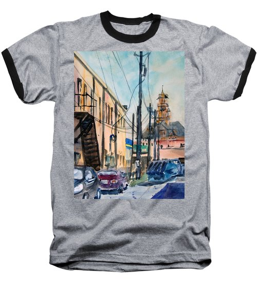 Baseball T-Shirt featuring the painting Waxahachie Back Alley by Ron Stephens
