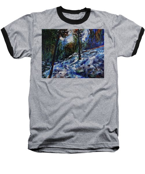 Baseball T-Shirt featuring the painting Way Of The Mono Trail by Walter Fahmy