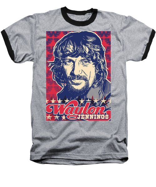 Waylon Jennings Pop Art Baseball T-Shirt by Jim Zahniser