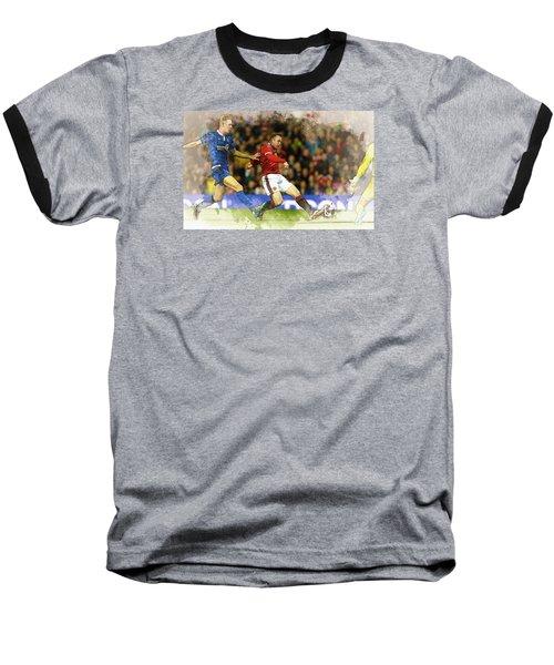 Wayne Rooney Of Manchester United Scores Baseball T-Shirt by Don Kuing