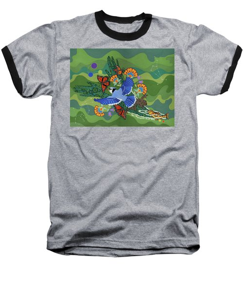Baseball T-Shirt featuring the painting We Are One by Chholing Taha
