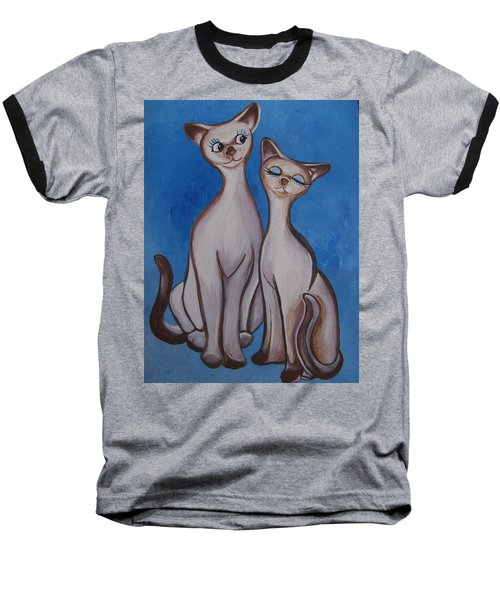 We Are Siamese Baseball T-Shirt by Leslie Manley