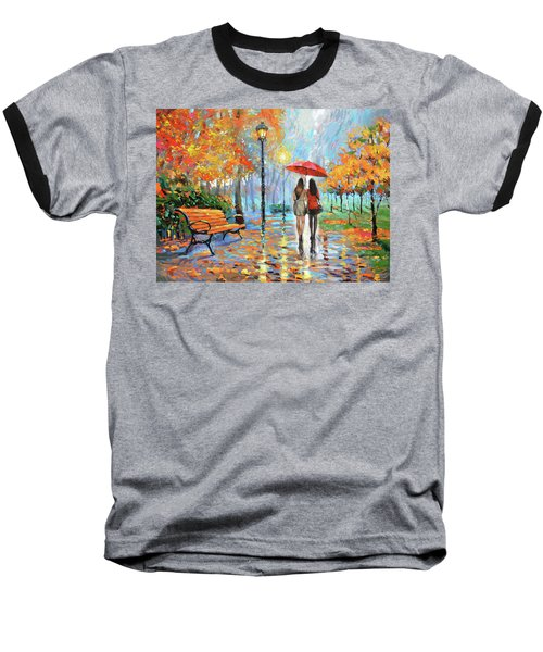 Baseball T-Shirt featuring the painting We Met In Park          by Dmitry Spiros