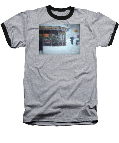 We Sell Flowers - Winter In New York Baseball T-Shirt by Miriam Danar