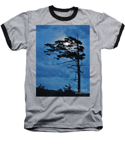 Weathered Moon Tree Baseball T-Shirt