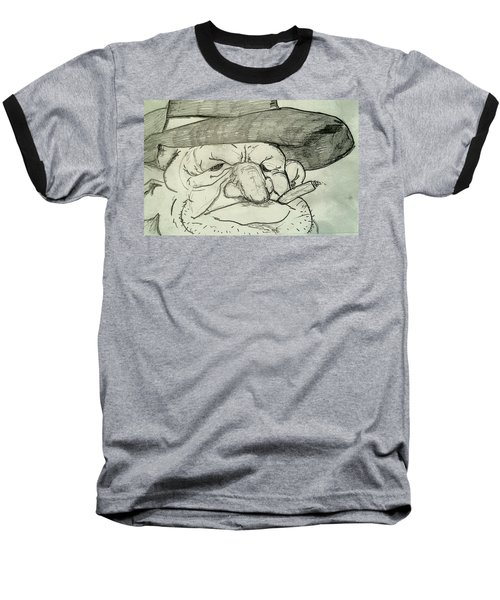 Weathered Old Man Baseball T-Shirt by Yshua The Painter