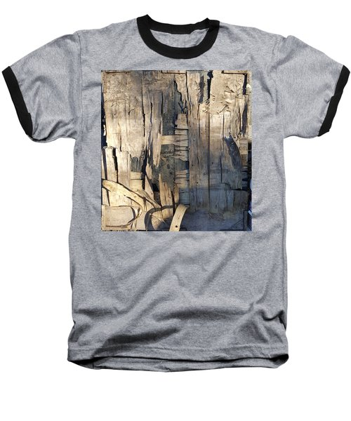 Weathered Plywood Composition Baseball T-Shirt