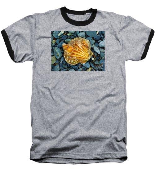 Weathered Scallop Shell Baseball T-Shirt by Judi Bagwell