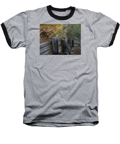Weathered Wood In Autumn Baseball T-Shirt by Cedric Hampton