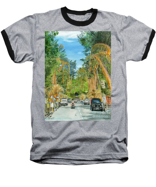 Baseball T-Shirt featuring the painting Weeping Janur Bali Indonesia by Melly Terpening