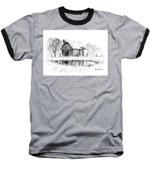 Weeping Willow And Barn Two Baseball T-Shirt