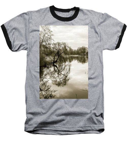 Weeping Willow Tree In The Winter Baseball T-Shirt