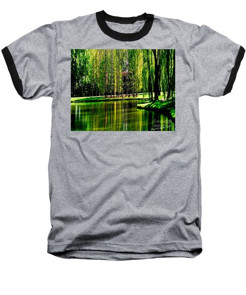 Weeping Willow Tree Reflective Moments Baseball T-Shirt by Carol F Austin