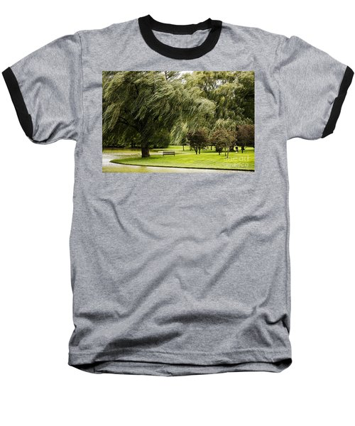 Weeping Willow Trees On Windy Day Baseball T-Shirt by Carol F Austin