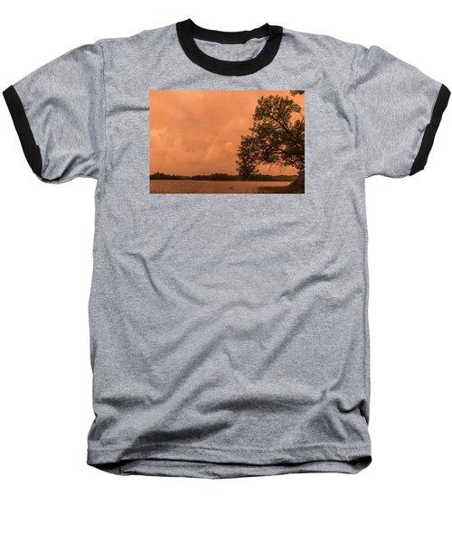 Strange Orange Sunrise With Rainbow Baseball T-Shirt by Gary Eason