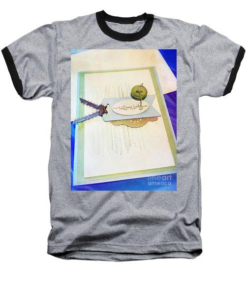 Welcome New Baby Handmade Stationary Baseball T-Shirt by Vizual Studio