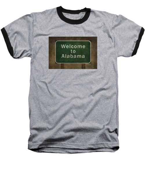 Welcome To Alabama Roadside Sign Illustration Baseball T-Shirt by Bruce Stanfield