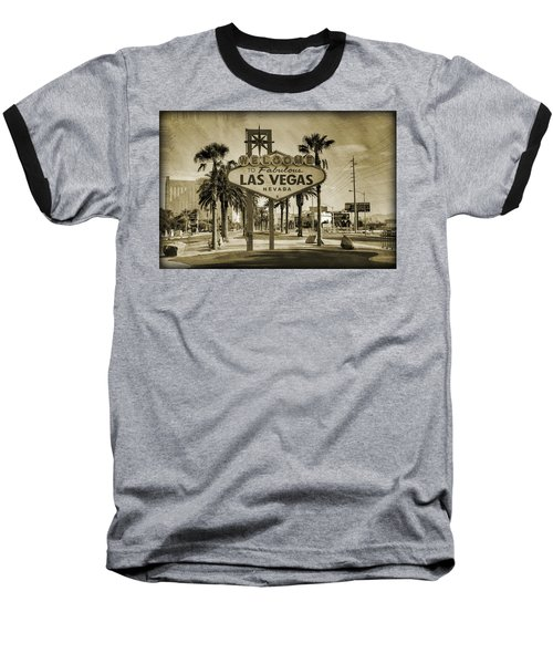 Welcome To Las Vegas Series Sepia Grunge Baseball T-Shirt