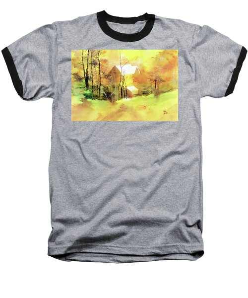 Baseball T-Shirt featuring the painting Welcome Winter by Anil Nene