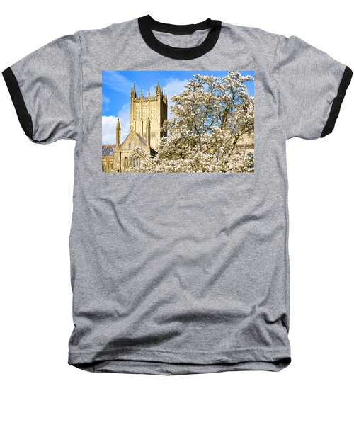 Wells Cathedral And Spring Blossom Baseball T-Shirt by Colin Rayner