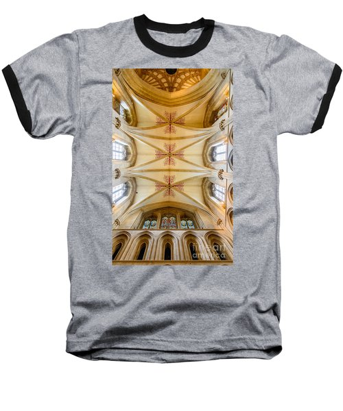 Wells Cathedral Ceiling Baseball T-Shirt by Colin Rayner