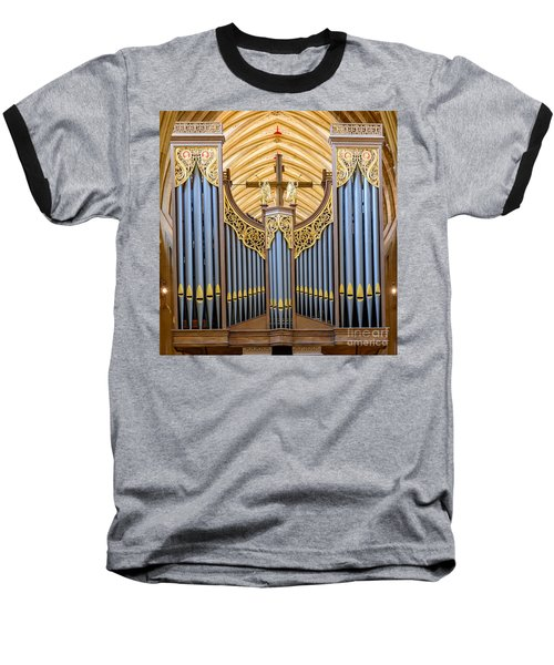 Baseball T-Shirt featuring the photograph Wells Cathedral Organ by Colin Rayner