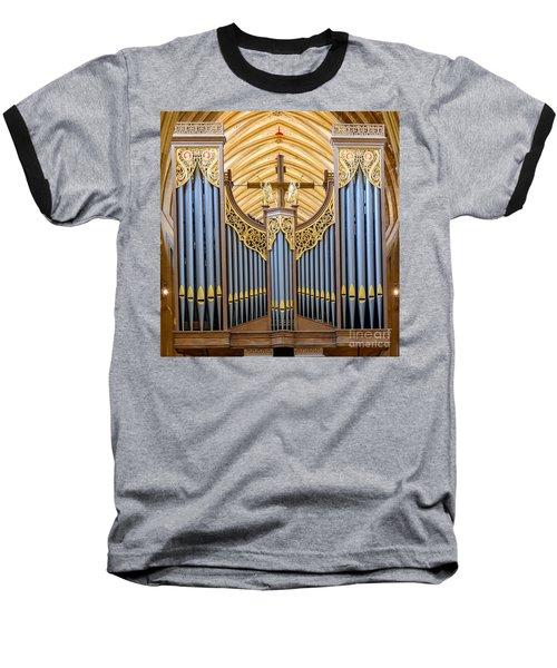 Wells Cathedral Organ Baseball T-Shirt by Colin Rayner