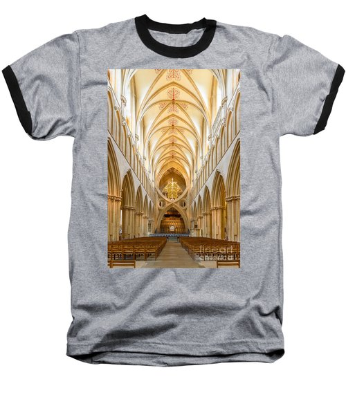 Wells Cathedral Nave Baseball T-Shirt by Colin Rayner