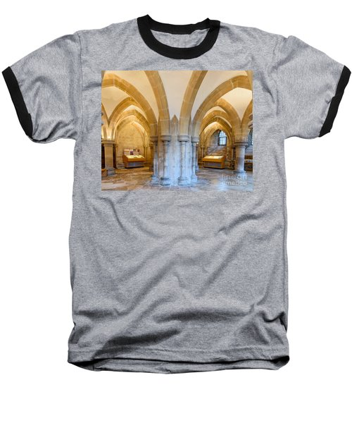 Wells Cathedral Undercroft Baseball T-Shirt by Colin Rayner