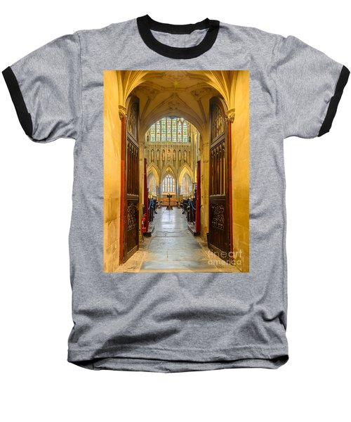 Wellscathedral, The Quire Baseball T-Shirt by Colin Rayner