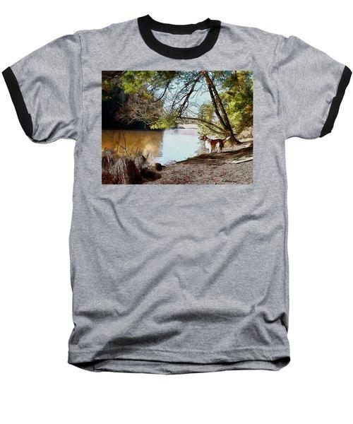 Welsh Springer Spaniel By The River Baseball T-Shirt