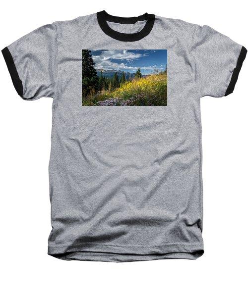 West Elk Mountain Range Baseball T-Shirt by Michael J Bauer
