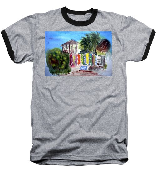 Baseball T-Shirt featuring the painting West End Market by Donna Walsh
