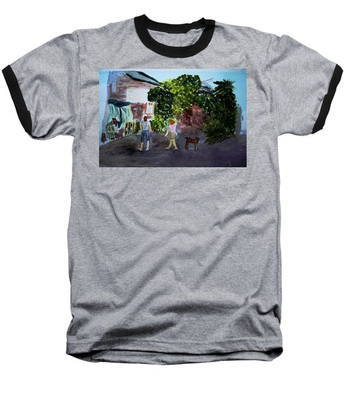Baseball T-Shirt featuring the painting West End Shopping by Donna Walsh