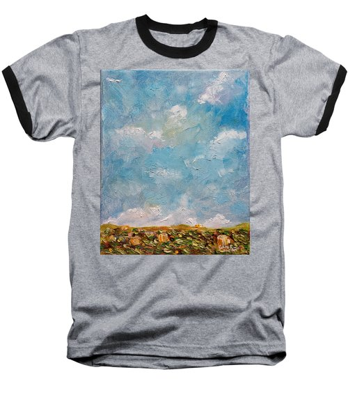 Baseball T-Shirt featuring the painting West Field Seedlings by Judith Rhue