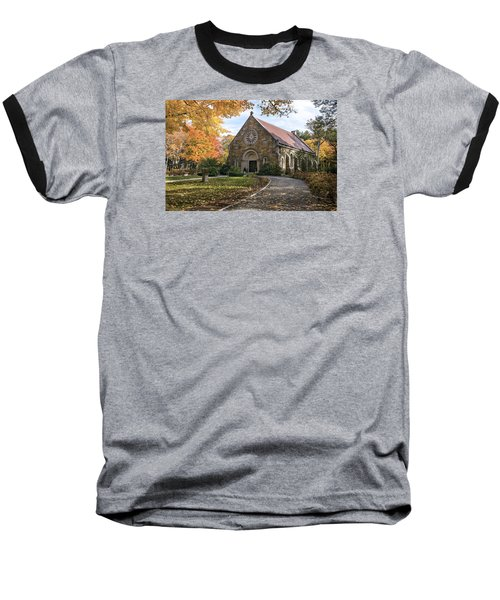 Baseball T-Shirt featuring the photograph West Parish Chapel In Fall, Andover, Ma by Betty Denise