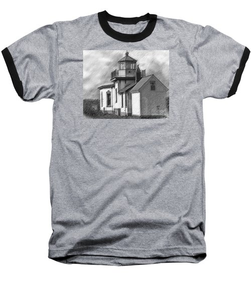 Baseball T-Shirt featuring the digital art West Point Lighthouse Sketched by Kirt Tisdale