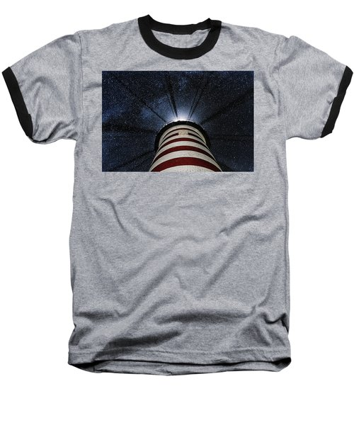 West Quoddy Head Lighthouse Night Light Baseball T-Shirt