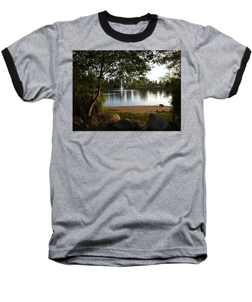 Baseball T-Shirt featuring the painting West View Of Lafarge Lake by Rod Jellison