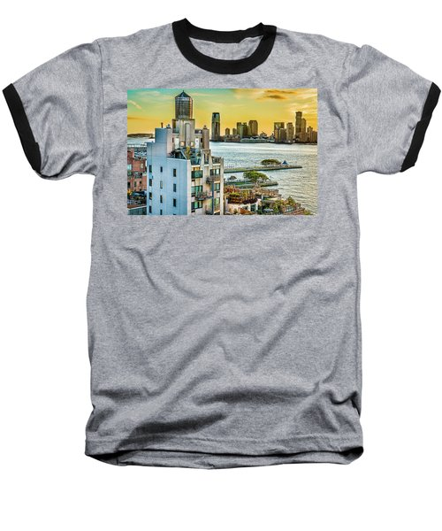 Baseball T-Shirt featuring the photograph West Village To Jersey City Sunset by Chris Lord