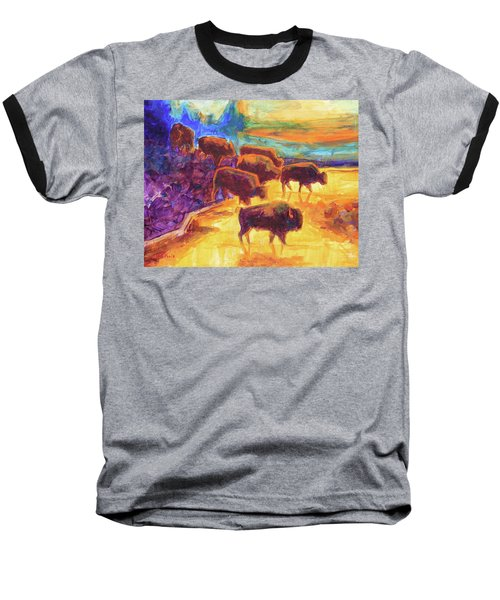 Western Buffalo Art Bison Creek Sunset Reflections Painting T Bertram Poole Baseball T-Shirt