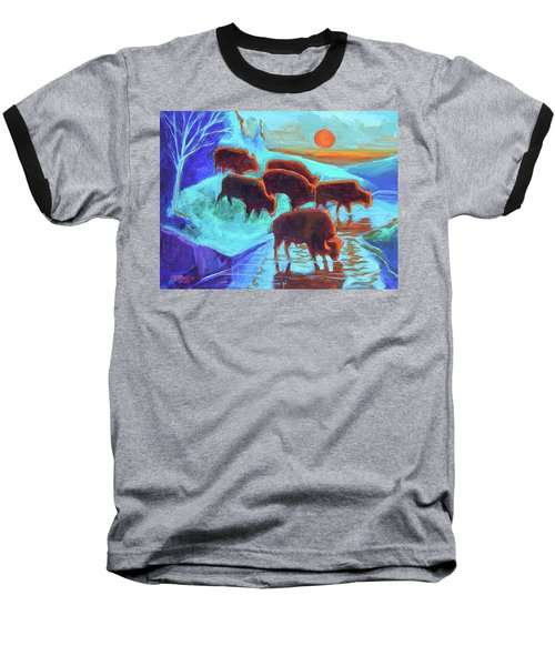 Western Buffalo Art Six Bison At Sunset Turquoise Painting Bertram Poole Baseball T-Shirt