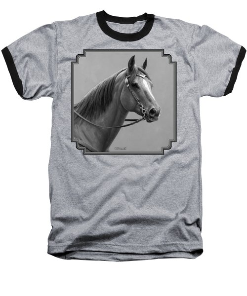 Western Quarter Horse Black And White Baseball T-Shirt by Crista Forest