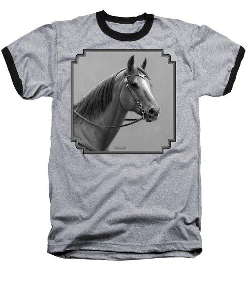 Western Quarter Horse Black And White Baseball T-Shirt