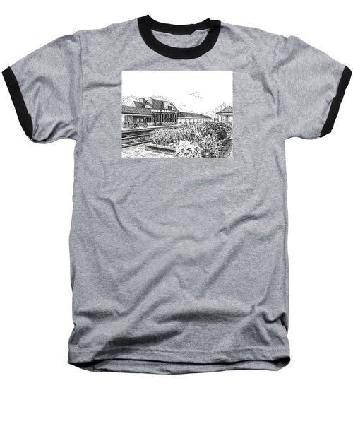 Western Springs Train Station Baseball T-Shirt