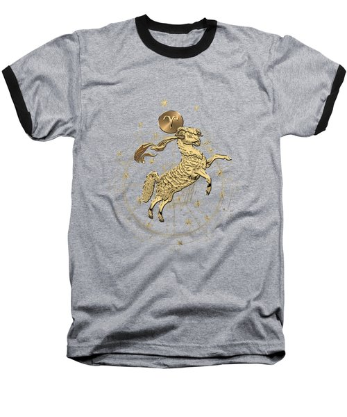 Western Zodiac - Golden Aries -the Ram On Black Canvas Baseball T-Shirt