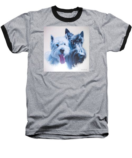 Westie And Scotty Dogs Baseball T-Shirt