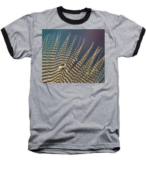 Wet Drop On Wood Duck Feather Baseball T-Shirt